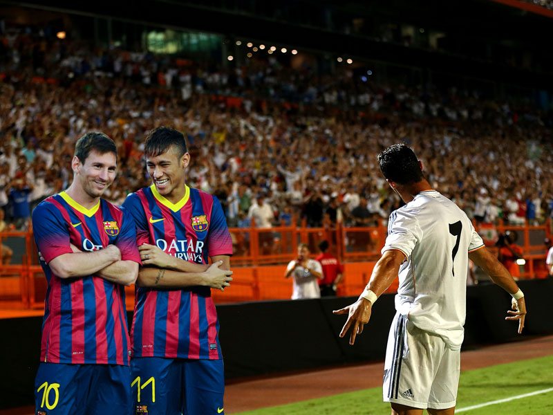 Lionel Messi, Neymar und Cristiano Ronaldo (v.li.)