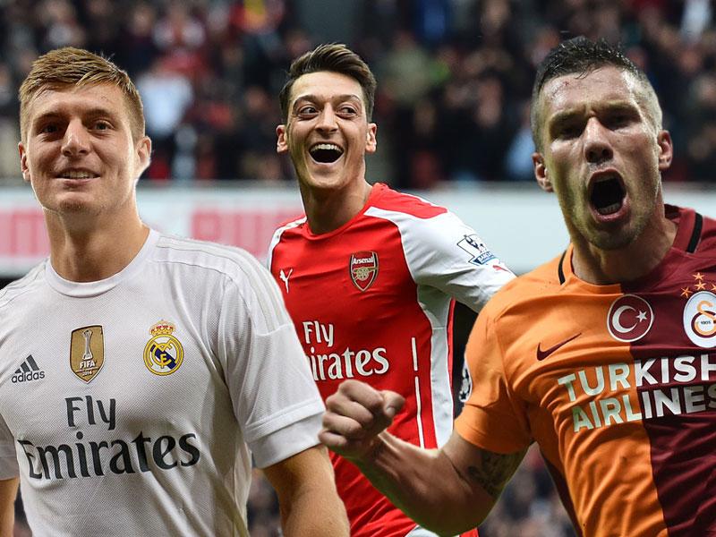 Toni Kroos, Mesut Özil und Lukas Podolski (v.li.)