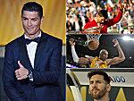 Cristiano Ronaldo (li.), Novak Djokovic (re. oben), Kobe Bryant (re. Mitte) und Lionel Messi