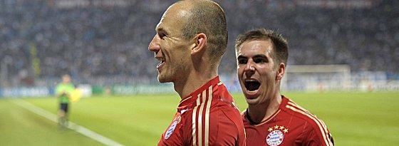 Entscheidung im Hinspiel in Marseille: Arjen Robben erzielte das 2:0 (re. Philipp Lahm).