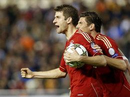 Bayerns Offensivspieler Thomas Müller will sich gegen Baryssau einen Gefallen tun.