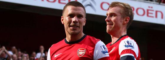 Lukas Podolski und Per Mertesacker
