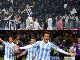 Juventus Turin (oben) und der FC Malaga mit Roque Santa Cruz - die Gegner des FC Bayern und des BVB im Viertelfinale.