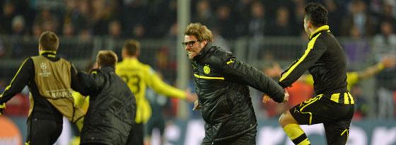 BVB-Trainer Jürgen Klopp trieb es nach dem Schlusspfiff per Sprint auf den Platz.