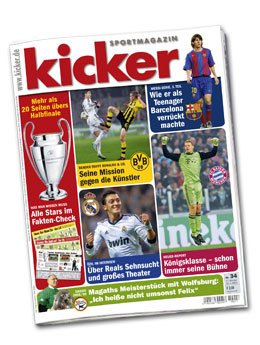 Aktuelle Ausgabe des kicker vom 22. April