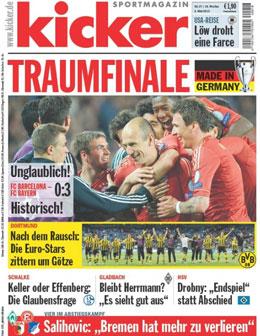 Aktuelle Ausgabe des kicker sportmagazin vom 01.05.2013