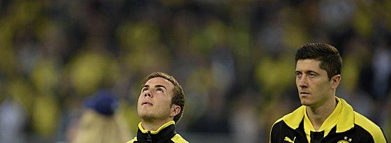 Gut drei Wochen Zeit bis zum großen Spiel in Wembley: Mario Götze (re. Robert Lewandowski).