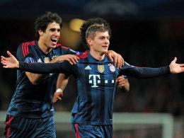 Kommt in meine Arme: Bayerns Kroos markierte das 1:0 bei Arsenal.