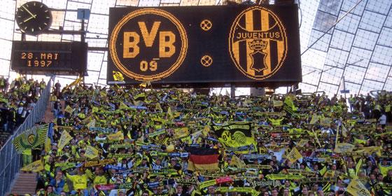 Dortmund-Fans beim Champions-League-Finale 1997 in M�nchen