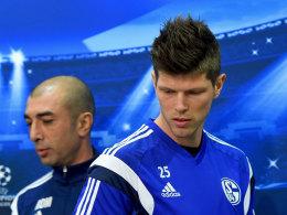 Schalkes Trainer Roberto di Matteo und sein Torjäger Klaas Jan Huntelaar.