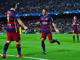 """Sind der neue """"Plan B"""" beim Champions-League-Sieger: Barcelonas Luis Suarez (l.) und Neymar."""