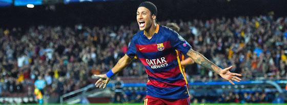 Durfte sich dreimal feiern lassen: Neymar traf zweimal selbst, bereitete dazu ein Tor vor.