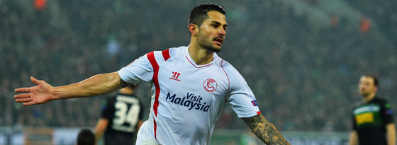 Hat den Borussia-Park in bester Erinnerung: Sevillas Vitolo traf beim 3:2 doppelt.