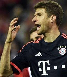 Trotz Ausbootung �berraschend humorig und locker: Bayern M�nchens Weltmeister Thomas M�ller.