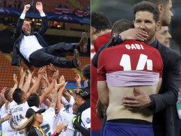 Himmeljochjauchzend, zu Tode betr�bt: Zinedine Zidane und Diego Simeone.