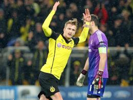 Dortmunds Marco Reus jubelt über sein 1:0 im Viertelfinale gegen Real Madrid 2014.