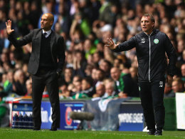 Pep Guardiola, Brendan Rodgers (r.)