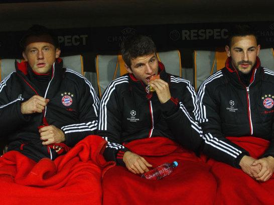 Ivica Olic, Thomas M�ller und Diego Contento (v.li.)