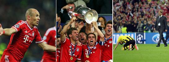 Der FC Bayern hat im ersten deutschen Finale der Champions League gegen Borussia Dortmund nach einem packenden Finale den Pott nach zwei Finalniederlagen nach M�nchen geholt.