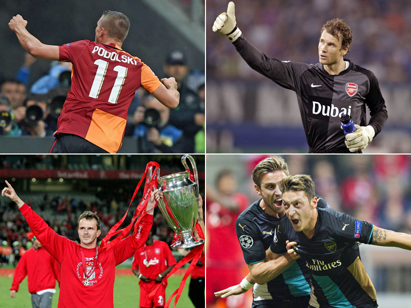 Lukas Podolski, Jens Lehmann, Dietmar Hamann und Mesut Özil.