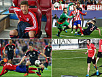 Thomas Müller (oben links), Franck Ribery (unten links), Fernando Torres (oben rechts) und Diego Godin