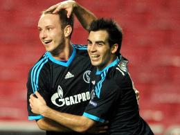 Das erste Schalker Auswärtstor seit drei Jahren: Schütze Jurado (re.) freut sich mit Rakitic.