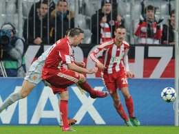 Fußball, Champions League: Franck Ribery trifft zum 1:0 gegen den FC Basel