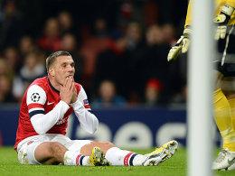 Podolski nach einer vergebenen Chance