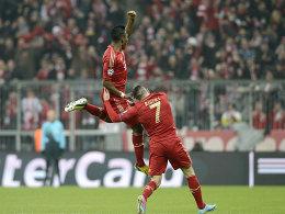 Alaba und Ribery bejubeln das frühe 1:0 des Österreichers