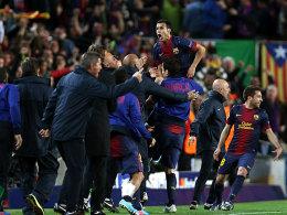 Pedro und Barcelona obenauf. Nach dem 1:1 kam es zu Freudensprüngen bei den Katalanen.
