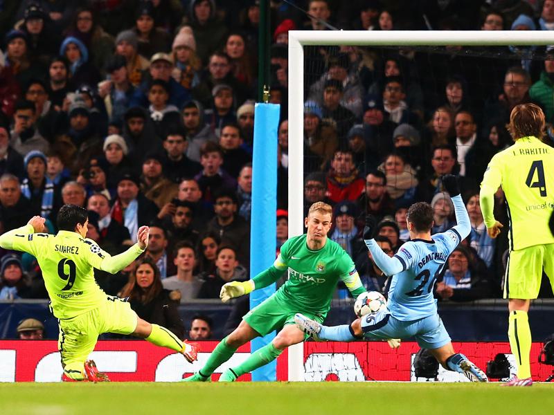 Eiskalt vollstreckt: Luis Suarez (li.) trifft auch zum 2:0 für Barcelona.