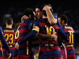 Entscheidung schon vor der Pause: Luis Suarez (Mitte) zeichnete sich dafür verantwortlich.