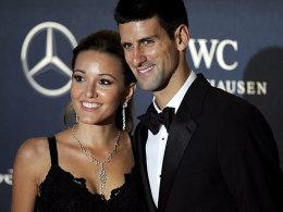 Herren-Sieger Novak Djokovic mit Freundin Jelena Ristic