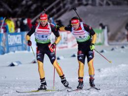 Florian Graf (r.) und Arnd Peiffer gehören zum deutschen Kader für die Biathlon-WM.