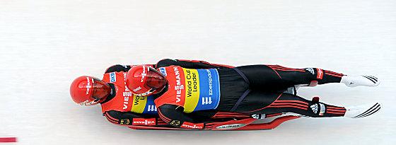 Bayern-Express in Sachsen: Die deutschen Rennrodler Tobias Wendl und Tobias Arlt beim Sieg in Altenberg.