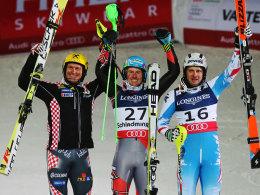 Medaillengewinner unter sich: Ivica Kostelic, Ted Ligety und Romed Baumann (v.l.).