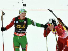 Darja Domracheva (li.) und Tora Berger