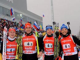 Nach schwachem Start noch auf Rang zwei: Die deutsche Biathlon-Staffel mit Benedikt Doll, Arnd Peiffer, Andreas Birnbacher und Eric Lesser.