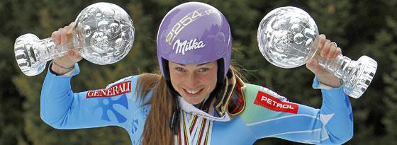Tina Maze holte den Weltcup-Sieg im Super G und Riesenslalom.