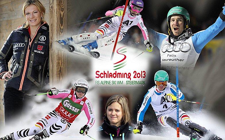 Höfl-Riesch, Neureuther, Rebensburg & Co. - die deutschen Starter in Schladming wollen Medaillen holen.