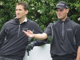 Neue Erfahrung: Rene Adler mit Golfstar Martin Kaymer.