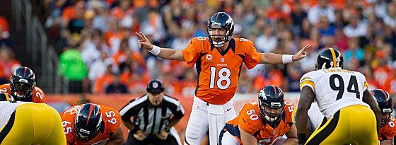 Der neue Spielmacher in der Mile-High-City: Peyton Manning bei seinem Debüt für die Denver Broncos.