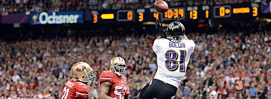 Die Nummer eins! Anquan Boldin fängt Joe Flaccos Pass zum ersten Touchdown der Ravens.