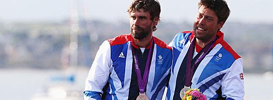 Olympiasilber: Andrew Simpson (re.) mit seinem Segelpartner Iain Percynach dem Men's Star-Wettbewerb in London 2012.