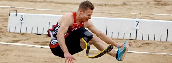 Novum: Markus Rehm hat als erster Weitspringer mit einer Beinprothese den Meistertitel gewonnen und sich für die EM qualifiziert.