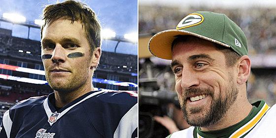 Stehen sich erstmals bei einem NFL-Spiel gegen�ber: Packers-Quarterback Aaron Rodgers (re.) und Patriots-Lenker Tom Brady.