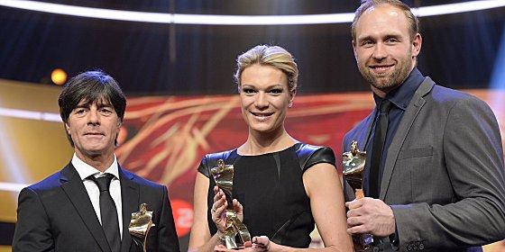 Joachim L�w, Maria H�fl-Riesch und Robert Harting