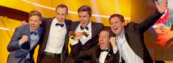 Mannschaft des Jahres: Die Nordischen Kombinierer mit abian Riessle, Eric Frenzel, Johannes Rydzek, Tino Edelmann und Trainer Hermann Weinbuch (v. li.).