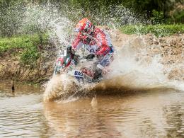 Die erste Etappe ist ins Wasser gefallen: KTM-Pilot Caspar Van Heertum war heute zum Zuschauen verurteilt.
