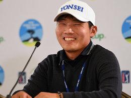 Strahlemann Kang: Der S�dkoreaner spielte am Freitag in Pebble Beach eine fantastische Runde.